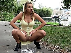 0  - Outdoor peeing for pretty brunette out walking